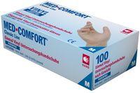 AMPRI-Einweg-Vinyl-Einmal-Untersuchungs-Handschuhe, MED COMFORT, puderfrei, unsteril, VE = Pkg. á 100 Stück, weiß