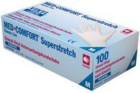 AMPRI-Einweg-Vinyl-Einmal-Untersuchungs-Handschuhe, MED COMFORT Super Stretch, puderfrei, unsteril, VE = Pkg. á 100 Stück, weiß