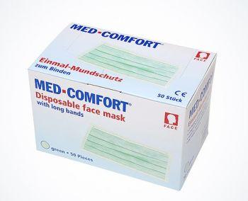 AMPRI-Einweg-Einmal-Mundschutz, MED COMFORT, 3-lagig zum Binden, VE = Pkg. á 50 Stück, limette
