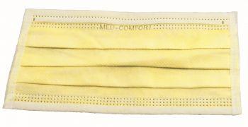 AMPRI-Einweg-Einmal-Mundschutz, MED COMFORT, Typ IIR, 3lagig, zum Binden, gelb, VE = Pkg. á 50 Stk.