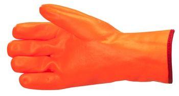 AMPRI-PVC-Arbeits-Handschuhe, POLARIS, flauschiges Futter, Profi-Qualität, VE = Pkg. á 12 Paar, leuchtend orange