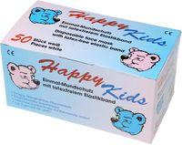 AMPRI-Einweg-Einmal-Mundschutz, HAPPY KIDS, 3-lagig, mit runden und latexfreien Elastikbändern, VE = Pkg. á 50 Stück, weiß mit B