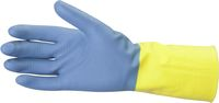 AMPRI-Neopren-Arbeits-Handschuhe, CLEAN GRIP, velourisiert, lebensmittelgeeignet, VE = Pkg. á 12 Paar, gelb/blau