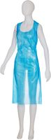 AMPRI-Einweg-PE-Schürzen, Einmalschürzen, MED COMFORT, glatte Oberfläche, 75 x 140 cm geblockt, VE = Beutel á 50 Stück, blau