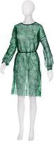 AMPRI-Einweg-Vlies-Mantel, Besucher-Einmal-Kittel, Light, MED COMFORT, zum Binden, VE = Pkg, á 10 Stück, dunkelgrün
