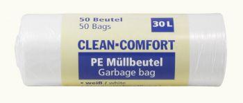 AMPRI-Abfall-Säcke-Müll-Beutel, Müllbeutel. PE, Clean Comfort, 30 l, ca. 500 x 600 mm, VE= 50 Beutel/Rolle, 40 Rollen/Kart., weiß