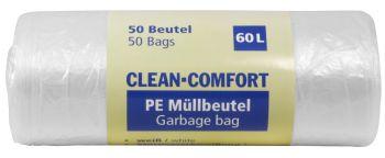 AMPRI-Abfall-Säcke-Müll-Beutel, Müllbeutel. PE, Clean Comfort, 60 l, ca. 600 x 720 mm, VE= 50 Beutel/Rolle, 40 Rollen/Kart., weiß