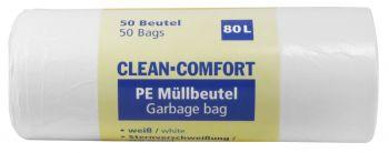 AMPRI-Abfall-Säcke-Müll-Beutel, Müllbeutel. PE, Clean Comfort, 80 l, ca. 630 x 850 mm, VE= 40 Beutel/Rolle, 9 Rollen/Kart., weiß