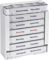 AMPRI-Hygiene, Tabletten-Dispenser für 7 Tage, Tages-Dispenser mit 4 Fächern, 10,5 x 3,9 x 12 cm, VE = 60 Stück/Karton