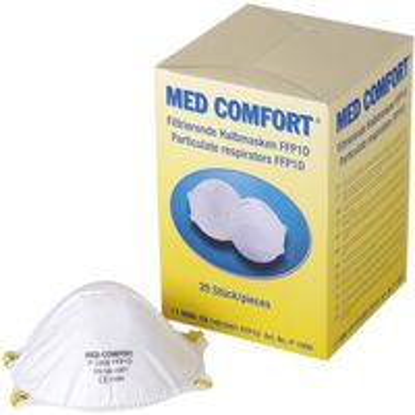 AMPRI-Einweg-Staub-Filter-Maske, Halbmaske, Med Comfort, FFP1D, mit Gummizug, ohne Ventil, VE = 20 Stück, Karton 12 Bo