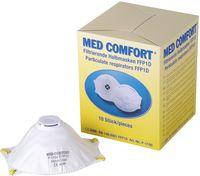 AMPRI-Einweg-Staub-Filter-Maske, Halbmaske, Med Comfort, FFP1D, mit Gummizug, mit Ventil, VE = 10 Stück, Karton 12 Box