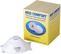 AMPRI-Einweg-Staub-Filter-Maske, Halbmaske, Med Comfort, FFP2D, mit Gummizug, Ventil und Aktivkohlefilter, VE = 10 Stü