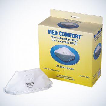 AMPRI-Atemschutz-Halbmaste, MED COMFORT, FFP2, mit Gummizug, flach gefaltet, VE = 12 Boxen á 20 Stück