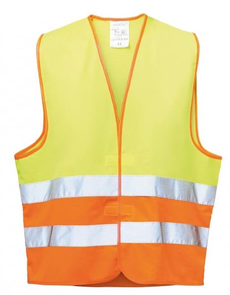 F-WICATEX, Warn-Schutz, Polyester Arbeits-Sicherheits-Berufs-Weste, WILHELM, fluoreszierend gelb/orange