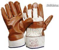 LP-SOLIDSTAR, Nitrilh-Arbeits-Handschuhe, Baumwollrücken, atmungsaktiv, Länge 27 cm, braun