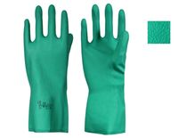 LP-PEBBLEGRIP-Chemikalien-Arbeits-Schutz-Handschuhe, Nitril, velourisiert, Länge 33 cm, grün