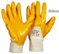 LP-SOLECO, Nitril-Arbeits-Handschuhe, Strickbund, griffsicher und rutschfest, gelb