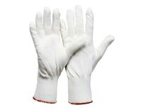 LP-FEINSTRICK-MONTAGE-Arbeits-Handschuhe, plattierte Stricktechnik, ohne Noppen, weiß