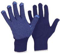 LP-FEINSTRICK-MONTAGE-Arbeits-Handschuhe, gute Schutzwerte, außen Polyamid, innen Baumwolle, blau