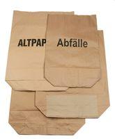 PL-Abfall-Säcke-Müll-Beutel, Papier-Müllsäcke, Kraftpapier, ca. 120 ltr., bedruckt Abfälle, 700 x 950+220 mm, 25 Stück gebündelt, braun
