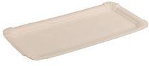 PL-Hygiene, Pappteller, rechteckig, abgerendete Ecken, unbeschichtet, 11 x 24 cm, 1500 Stück, weiß