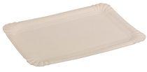 PL-Hygiene, Pappteller, rechteckig, abgerendete Ecken, unbeschichtet, 13 x 20 cm, 1500 Stück, weiß