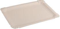 PL-Hygiene, Pappteller, rechteckig, abgerendete Ecken, unbeschichtet, 16,5 x 19,5 cm, 1000 Stück, weiß