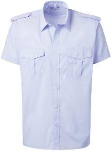 PIONIER-Pilot-Hemd, Kent-Kragen, 1/2 Arm, mit Schulterklappen, BUSINESS FASHION, hellblau