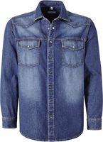 PIONIER-Denim-Jeans-Arbeits-Berufs-Hemd, 1/1 Arm, blau