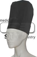 care&serve-Einweg-Koch-Einmal-Mütze, Papier, Block Dekorfalten, Polybeutel, Pkg á 10 Stück, VE: 250 Stück, schwarz
