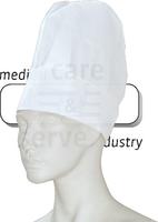 care&serve-Einweg-Koch-Einmal-Mütze, Krepp Papier, Block Dekorfalten, Polybeutel, Pkg á 10 Stück, VE: 250 Stück, weiß