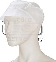 care&serve-Einweg Vlies Schirm-Einmal-Mütze, Gummizug im Nacken, Polybeutel, Pkg á 100 Stück, VE: 1000 Stück, weiß