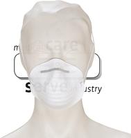 care&serve-Einweg Staubschutz-Einmal-Maske, Schalenform, gegen Grogstaub, Spenderbox, Pkg á 50 Stück, VE: 2000 Stück, weiß