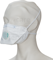 care&serve-Einweg-Atemschutz-Einmal-Maske, FFP 2, Faltform, mit Ventil, Pkg á 20 Stück, VE: 400 Stück, weiß