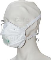 care&serve-Einweg-Atemschutz-Einmal-Maske, FFP 3, Schalenform, mit Ventil, Pkg á 5 Stück, VE: 100 Stück, weiß