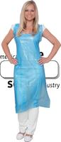 care&serve Einweg PE Einmal-Schürze, 0,018 mm, geblockt, glatt, Polybeutel, 75 x 125 cm, Pkg á 50 Stück, VE: 1000 Stück, blau