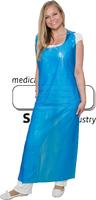 WIROS-Einweg-PE-Schürzen, Einmalschürzen, 0,03 mm, geblockt, glatt, extra stark, 75 x 150 cm, Pkg á 50 Stück, VE = 500 Stück, blau