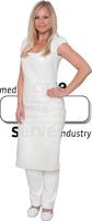 WIROS-Einweg-PE-Schürzen, Einmalschürzen, 0,05 mm, geblockt, glatt, extra stark, 80 x 140 cm, Pkg á 25 Stück, VE = 250 Stück, weiß