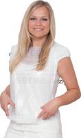 care&serve-Einweg-PE-Latz, Einmal-Lätzchen, 9 cm Auffangleiste, Bänder im Nacken, gehämmert, Polybeutel, 41 x 61 cm, Pkg á 100 Stück,