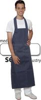 care&serve Latzschürze, Gummischürze-PU Beschichtung, gestreift, waschbar bis 45°C, Polybeutel, 80 x 120 cm, blau, weiß