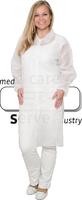 care&serve-Einweg-Vlies-Kittel, Einmal-Mantel, Druckknöpfe, ohne Taschen, Polybeutel, 30 g/m², 140 x 110 cm, VE: 50 Stück, weiß