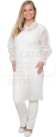 care&serve-Einweg-Vlies-Kittel, Einmal-Mantel, Druckknöpfe, ohne Taschen, Polybeutel, 30 g/m², 145 x 115 cm, VE: 50 Stück, weiß