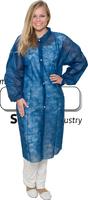 care&serve-Einweg-Vlies-Kittel, Einmal-Mantel, Druckknöpfe, ohne Taschen, Polybeutel, 30 g/m², 150 x 120 cm, VE: 50 Stück, dunkelblau