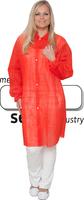 care&serve-Einweg-Vlies-Kittel, Einmal-Mantel, Druckknöpfe, ohne Taschen, Polybeutel, 30 g/m², 145 x 115 cm, VE: 50 Stück, rot