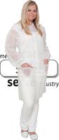 care&serve-Einweg-Vlies-Kittel, Einmal-Mantel, Druckknöpfe, mit Taschen, Polybeutel, 30 g/m², 150 x 120 cm, VE: 50 Stück, weiß