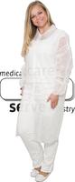 care&serve-Einweg-Vlies-Kittel, Einmal-Mantel, Klettverschlüsse, ohne Taschen, Polybeutel, 30 g/m², 140 x 110 cm, VE: 50 Stück, weiß