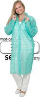 care&serve-Einweg-Vlies-Kittel, Einmal-Mantel, Klettverschlüsse, ohne Taschen, Polybeutel, 30 g/m², 145 x 115 cm, VE: 50 Stück, grün