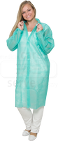 care&serve-Einweg-Vlies-Kittel, Einmal-Mantel, Klettverschlüsse, ohne Taschen, Polybeutel, 30 g/m², 150 x 120 cm, VE: 50 Stück, grün
