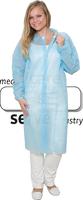 care&serve-Einweg-Vlies-Kittel, Einmal-Mantel, Klettverschlüsse, ohne Taschen, Polybeutel, 30 g/m², 150 x 120 cm, VE: 50 Stück, blau