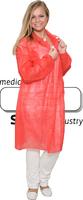 care&serve-Einweg-Vlies-Kittel, Einmal-Mantel, Klettverschlüsse, ohne Taschen, Polybeutel, 30 g/m², 140 x 110 cm, VE: 50 Stück, rot